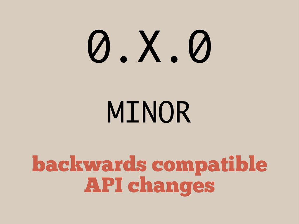 0.X.0 MINOR backwards compatible API changes
