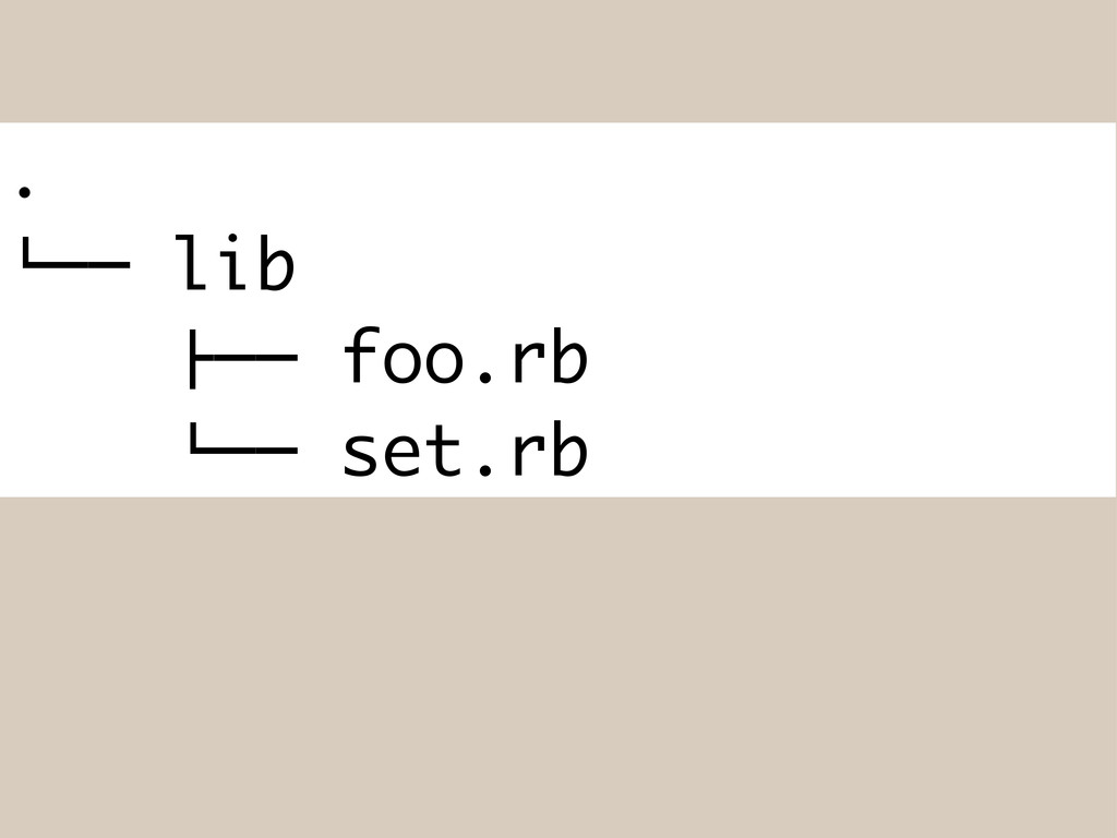 ". #"""" lib !"""" foo.rb #"""" set.rb"