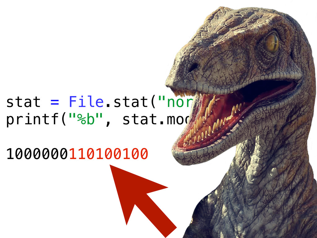 "stat = File.stat(""normal.txt"") printf(""%b"", sta..."