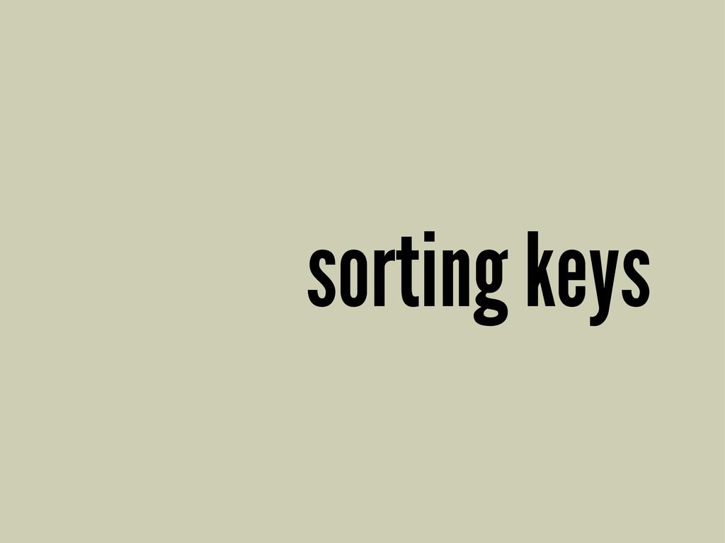 sorting keys