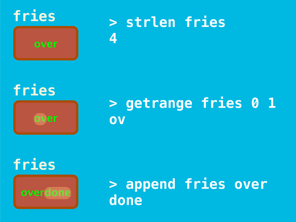 > strlen fries 4 > getrange fries 0 1 ov > appe...