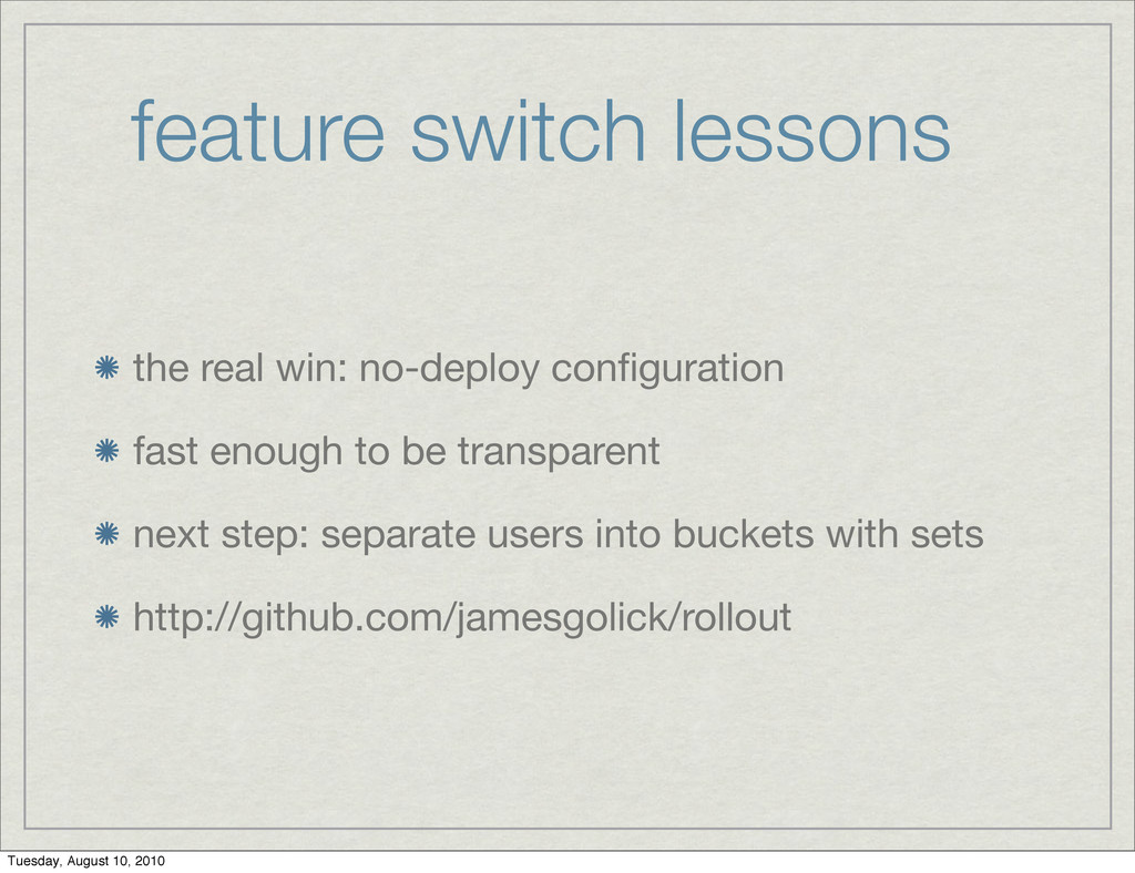 feature switch lessons the real win: no-deploy ...