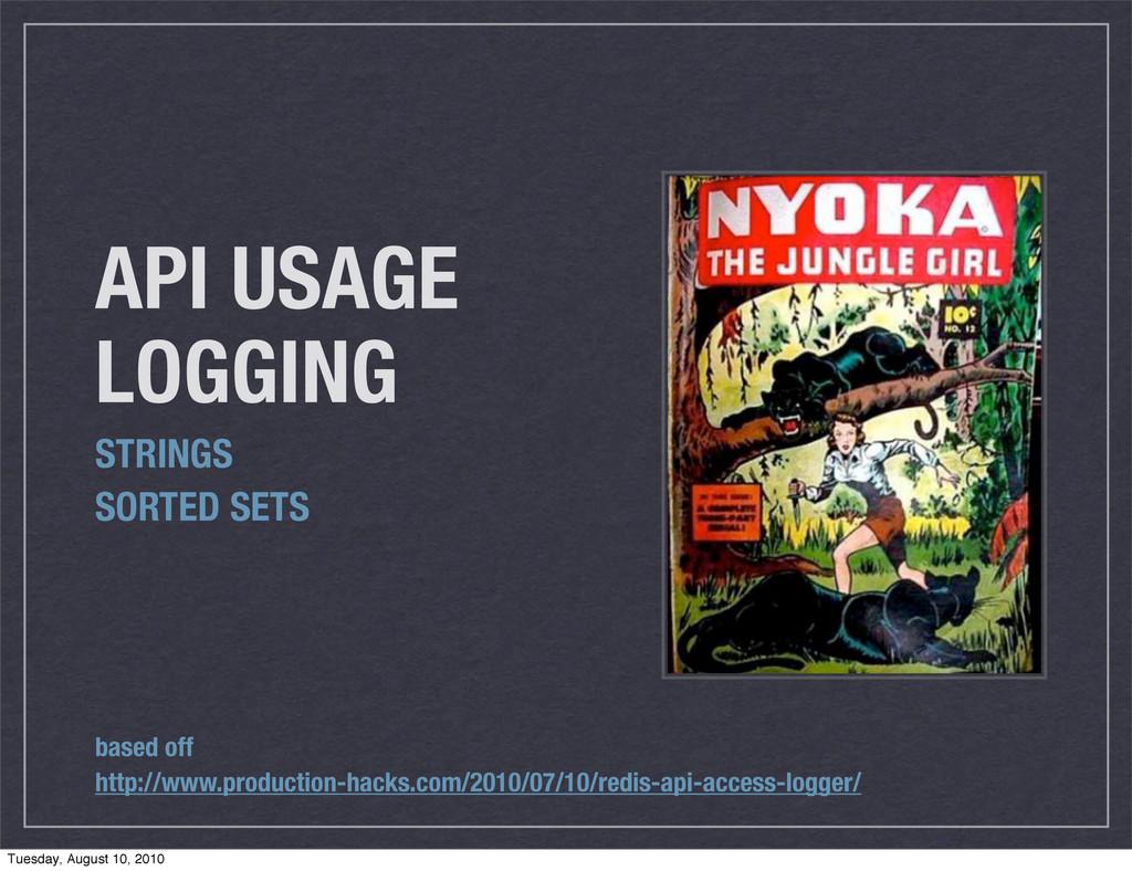 API USAGE LOGGING STRINGS SORTED SETS based off...