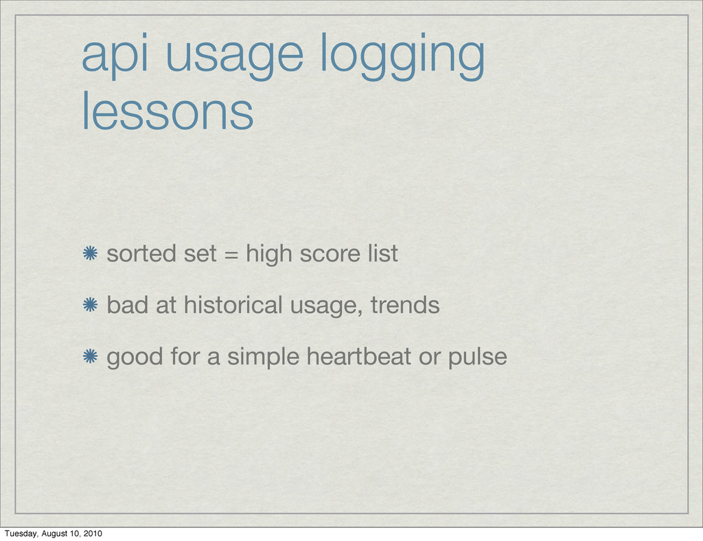 api usage logging lessons sorted set = high sco...