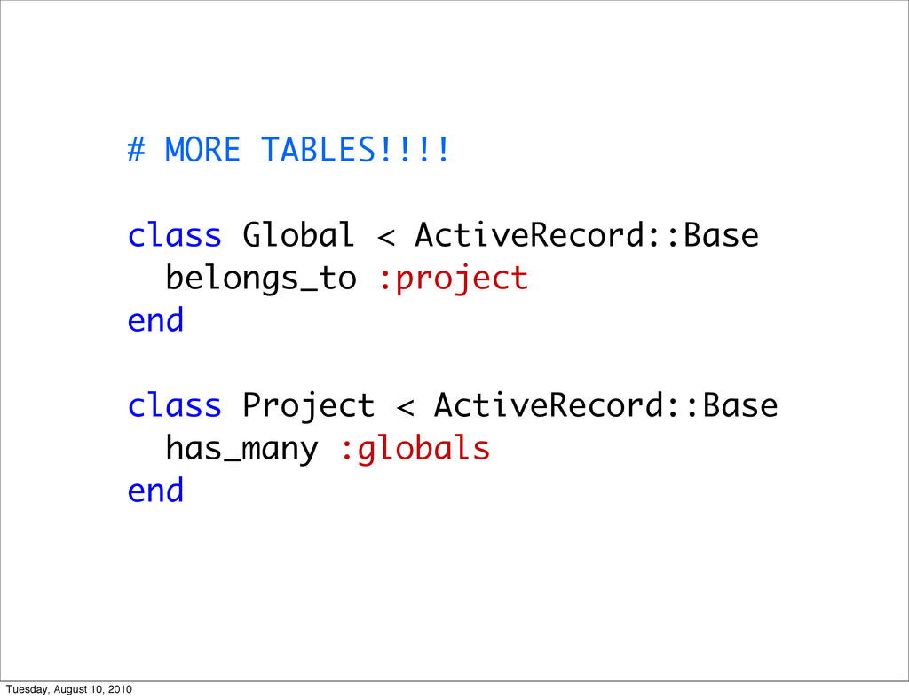 # MORE TABLES!!!! class Global < ActiveRecord::...