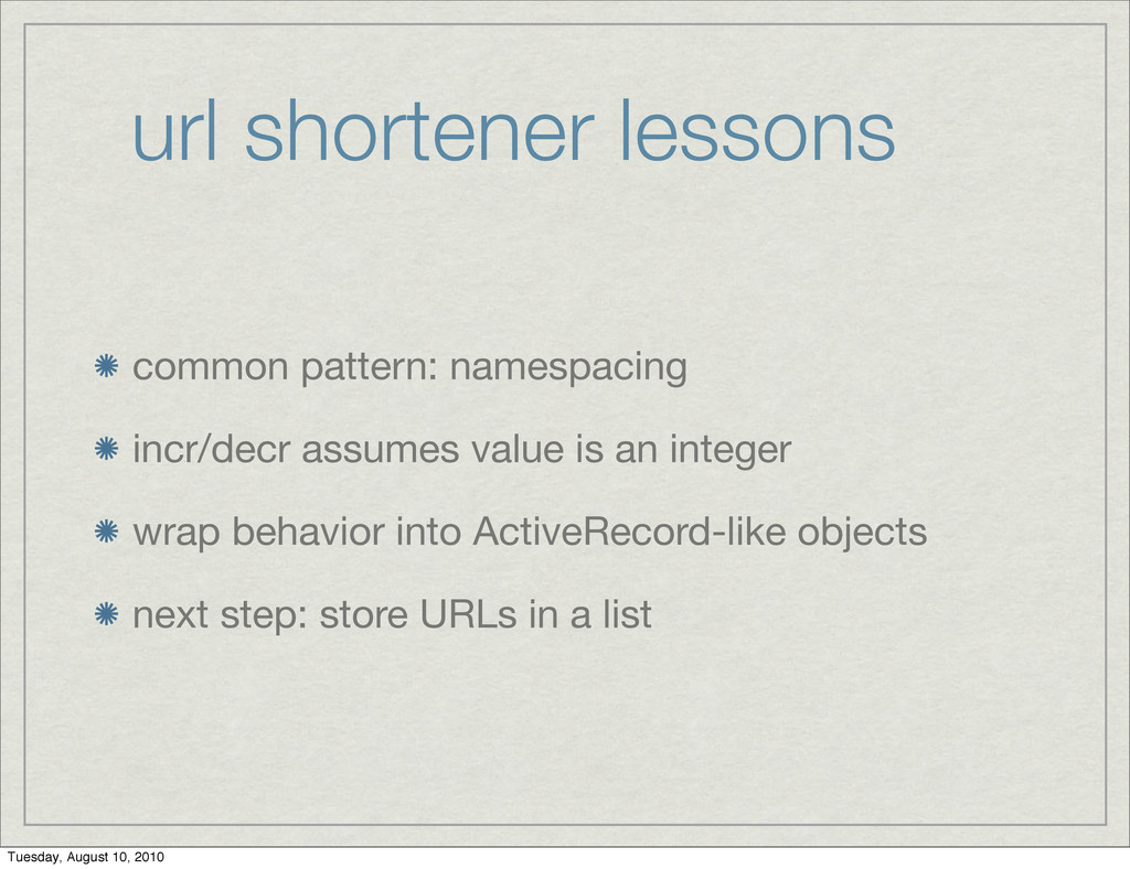 url shortener lessons common pattern: namespaci...