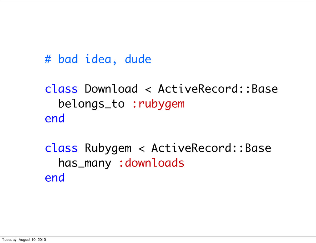 # bad idea, dude class Download < ActiveRecord:...