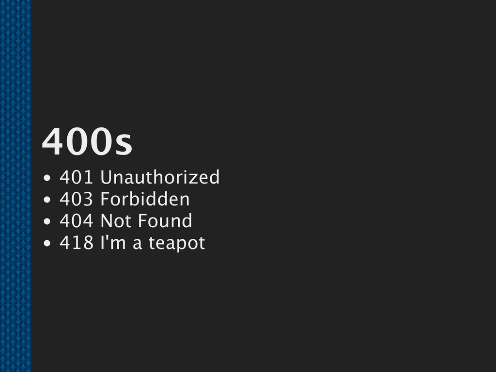 400s 401 Unauthorized 403 Forbidden 404 Not Fou...