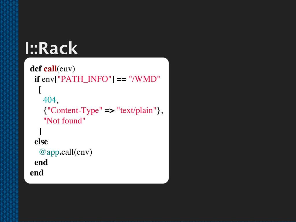 """I::Rack def call(env) if env[""""PATH_INFO""""] == """"/..."""