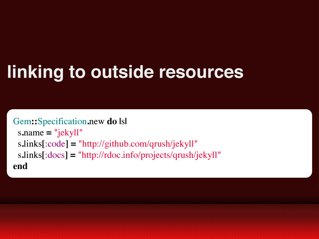 linking to outside resources Gem::Specification...