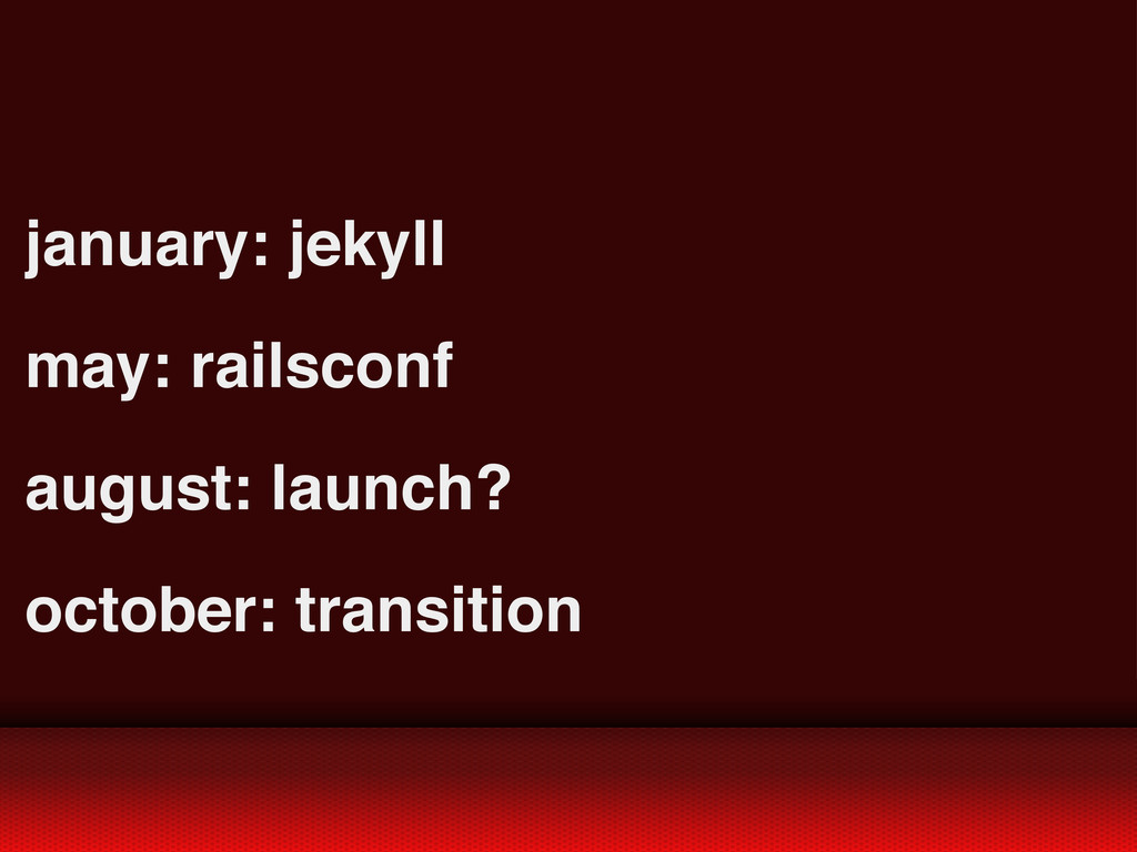 january: jekyll may: railsconf august: launch? ...