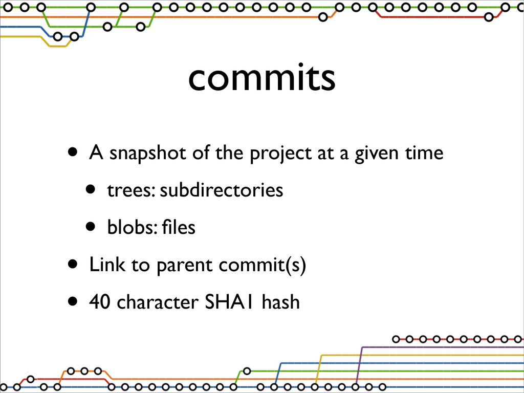 commits • A snapshot of the project at a given ...