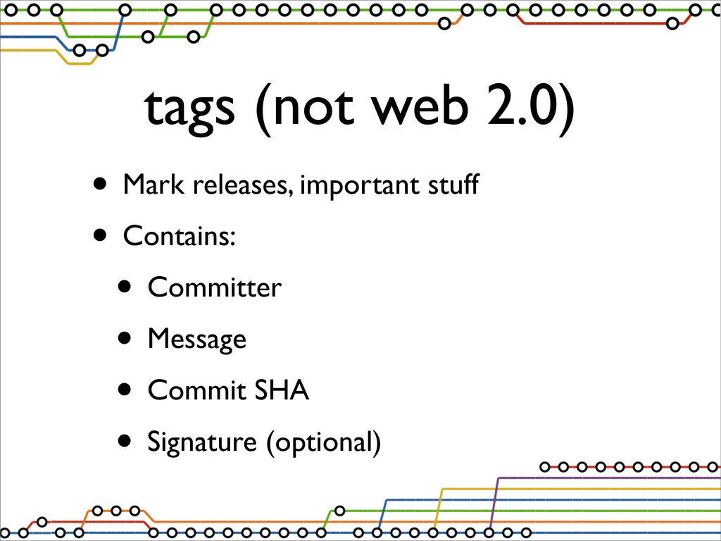 tags (not web 2.0) • Mark releases, important s...