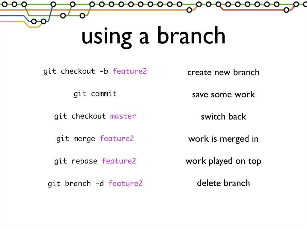 using a branch git checkout -b feature2 git com...