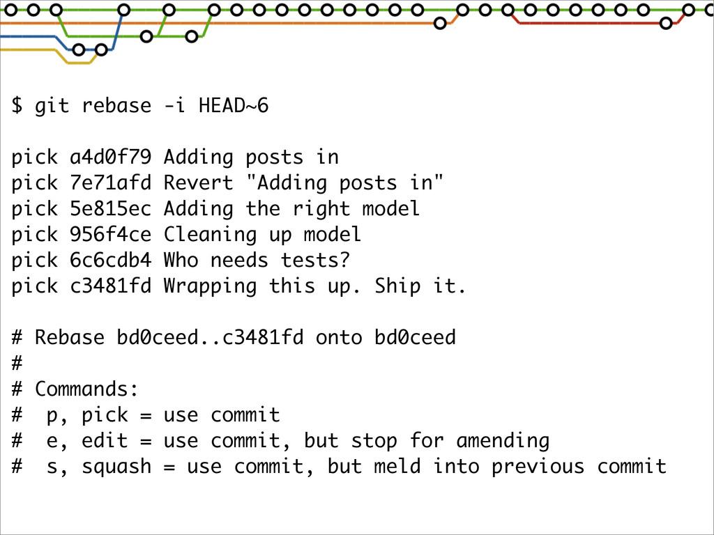 $ git rebase -i HEAD~6 pick a4d0f79 Adding post...