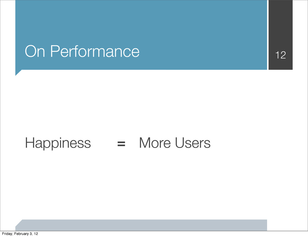 On Performance 12 Happiness More Users = Friday...