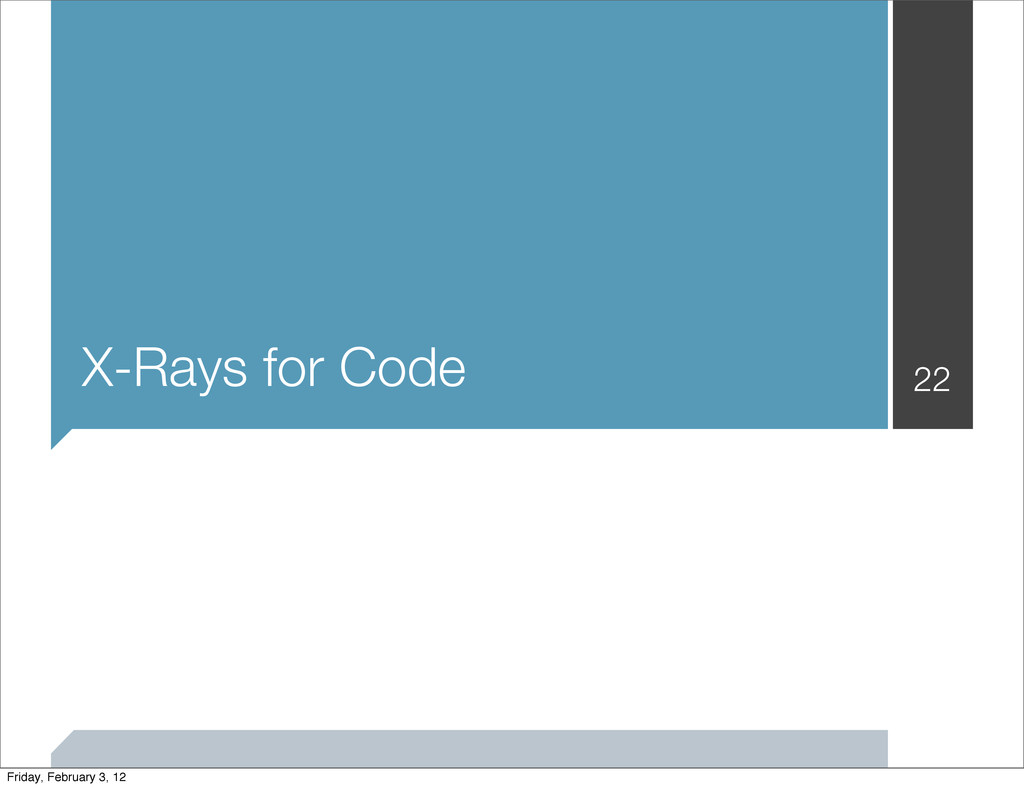 X-Rays for Code 22 Friday, February 3, 12