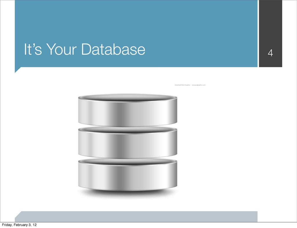 It's Your Database 4 Friday, February 3, 12