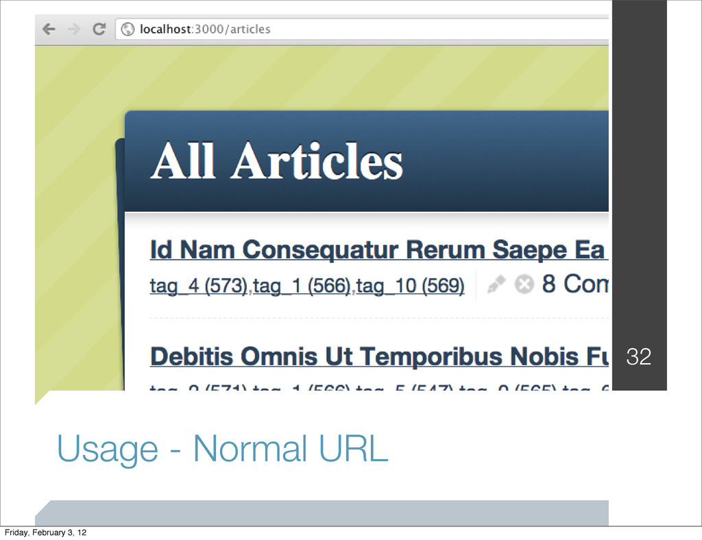 Usage - Normal URL 32 Friday, February 3, 12