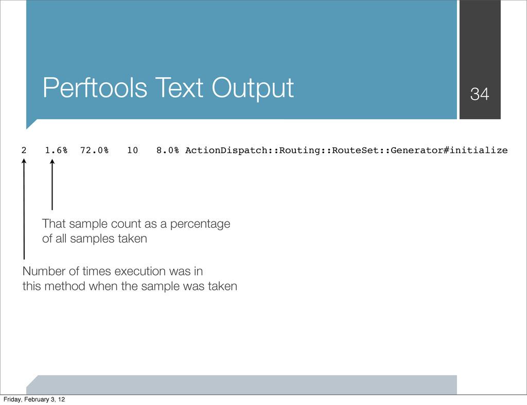 Perftools Text Output 34 2 1.6% 72.0% 10 8.0% A...