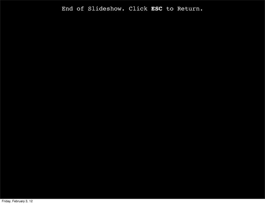 End of Slideshow. Click ESC to Return. Friday, ...