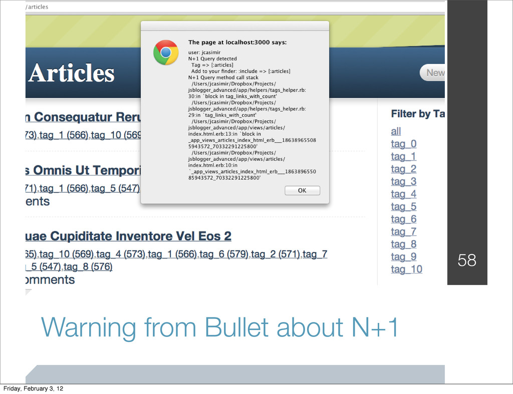 Warning from Bullet about N+1 58 Friday, Februa...