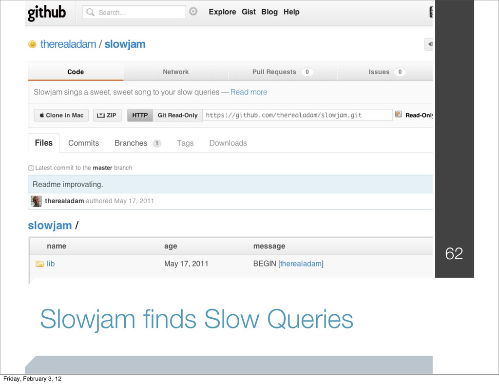 Slowjam finds Slow Queries 62 Friday, February 3...