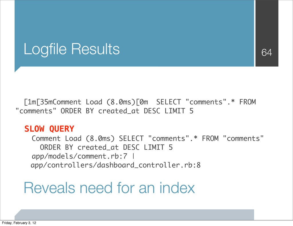 Logfile Results 64   [1m[35mComment Load (8....