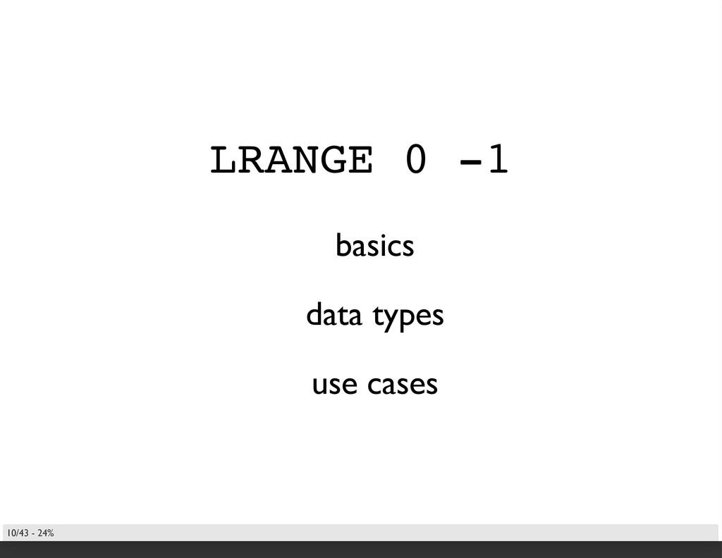 LRANGE 0 -1 basics data types use cases 10/43 -...