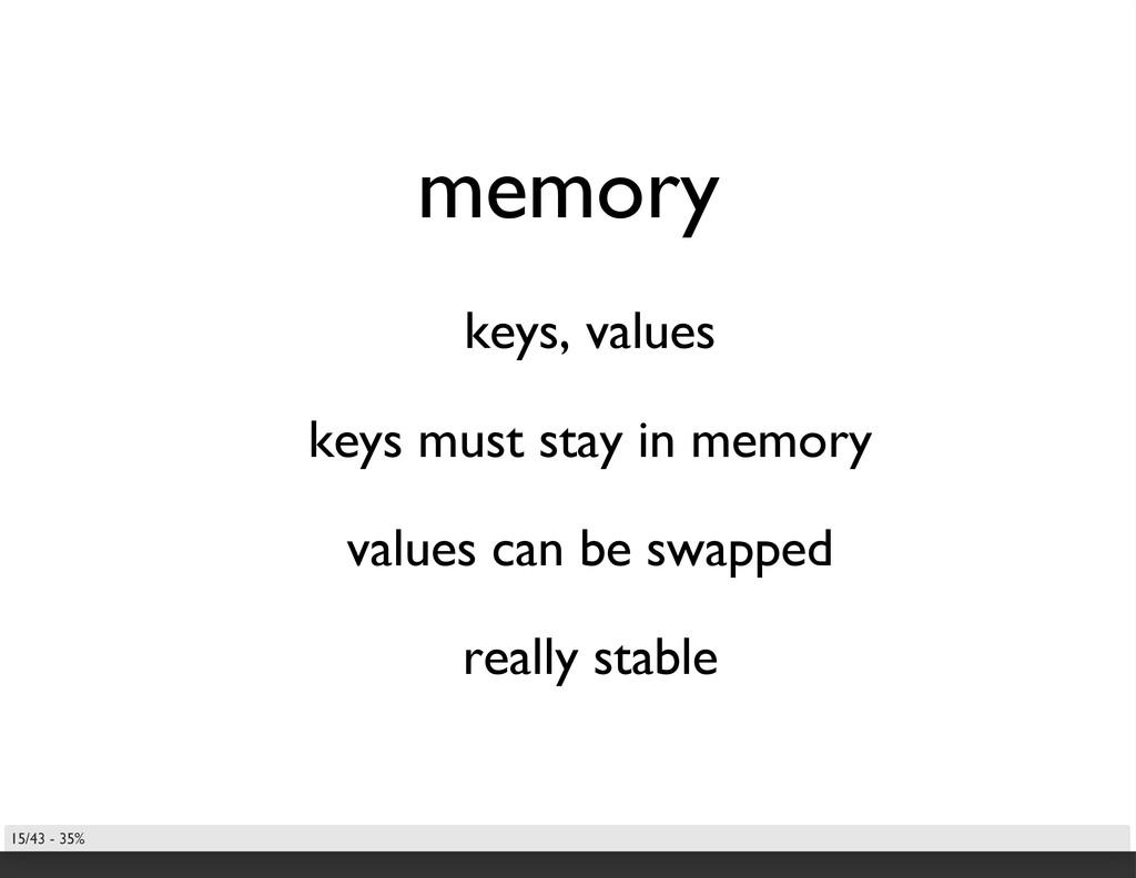 memory keys, values keys must stay in memory va...