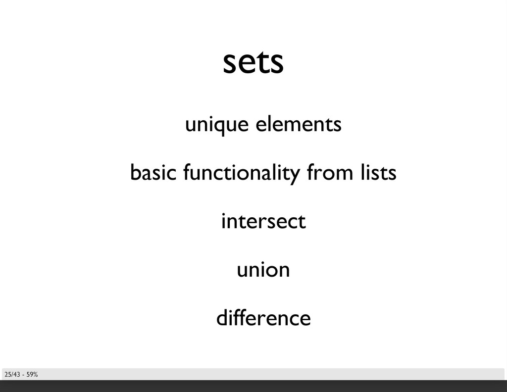 sets unique elements basic functionality from l...