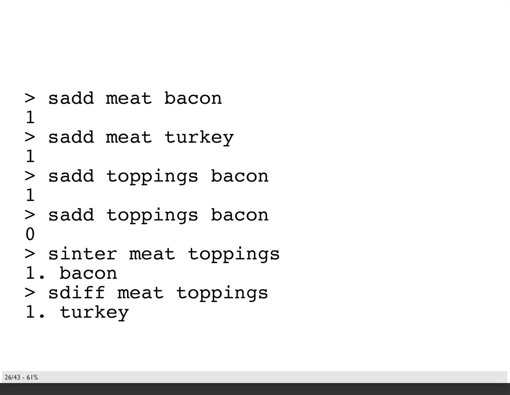 > sadd meat bacon 1 > sadd meat turkey 1 > sadd...