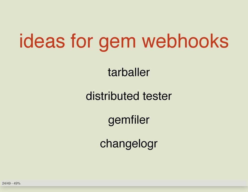 ideas for gem webhooks tarballer distributed te...