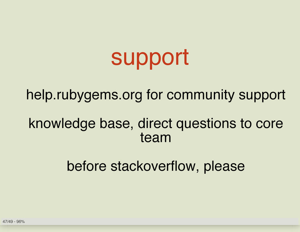 support help.rubygems.org for community support...