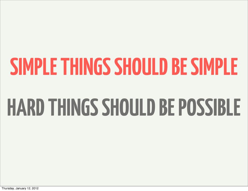 SIMPLE THINGS SHOULD BE SIMPLE HARD THINGS SHOU...