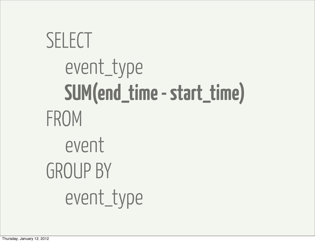 SELECT event_type SUM(end_time - start_time) FR...