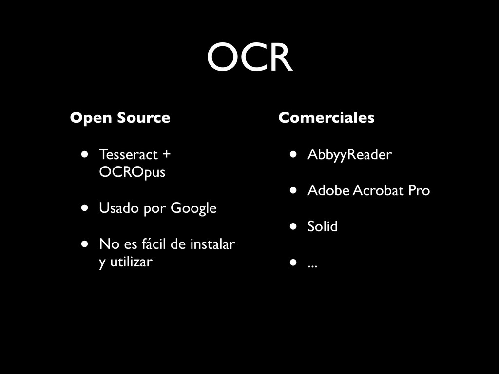 OCR Open Source • Tesseract + OCROpus • Usado p...