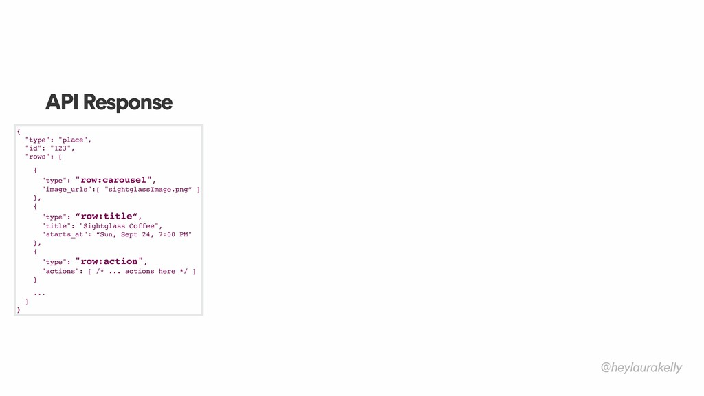 "@heylaurakelly API Response { ""type"": ""place"",..."