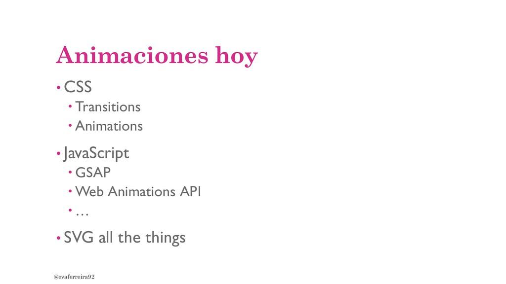 Animaciones hoy • CSS  Transitions  Animation...