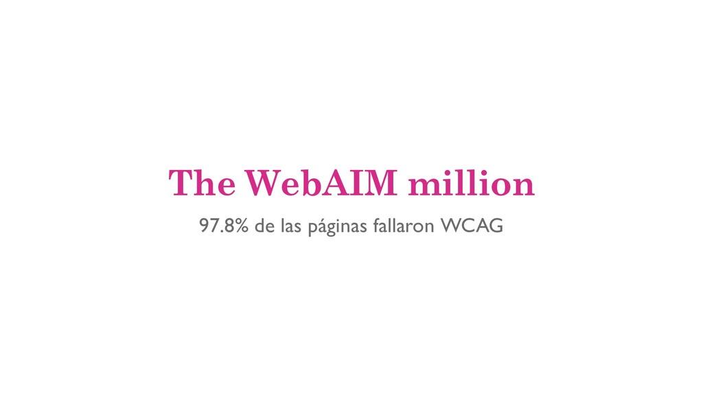 The WebAIM million 97.8% de las páginas fallaro...