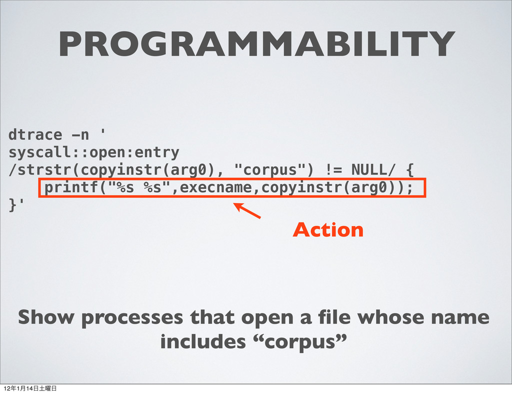 PROGRAMMABILITY dtrace -n ' syscall::open:entry...
