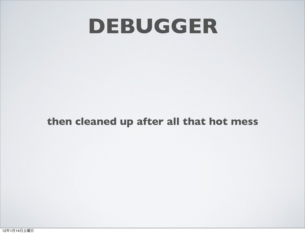 DEBUGGER then cleaned up after all that hot mes...