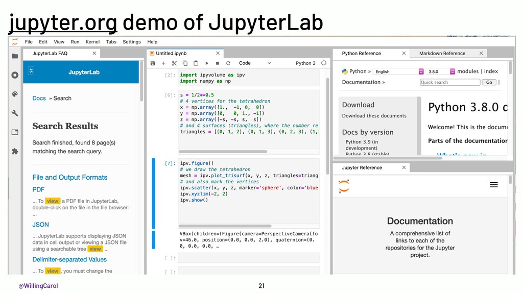 @WillingCarol 21 jupyter.org demo of JupyterLab