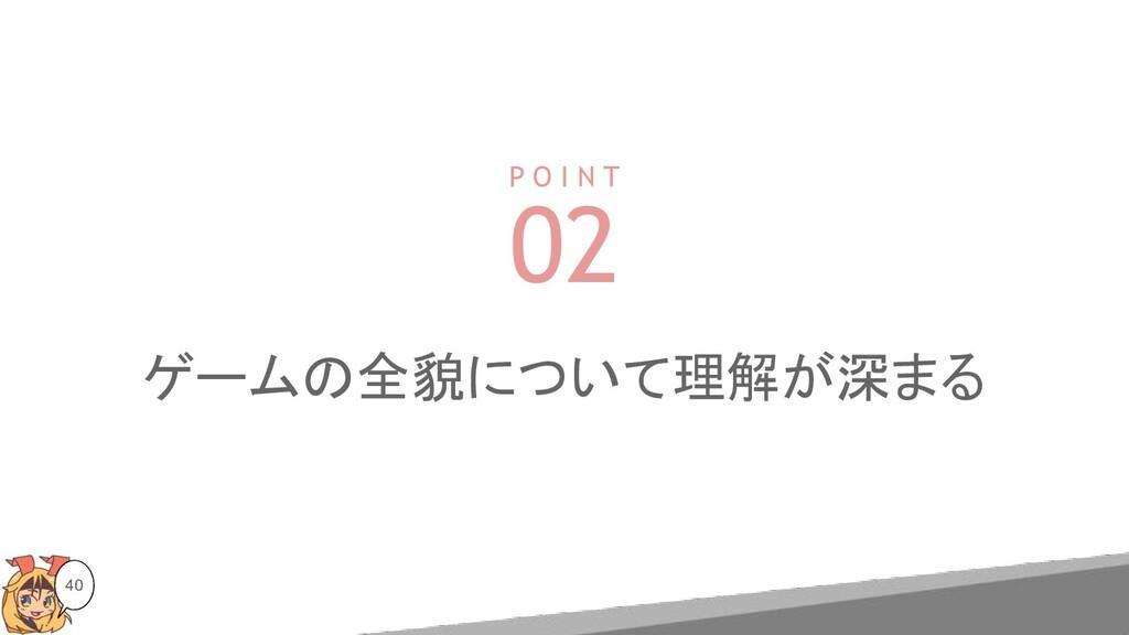 40 P O I N T 02 ゲームの全貌について理解が深まる