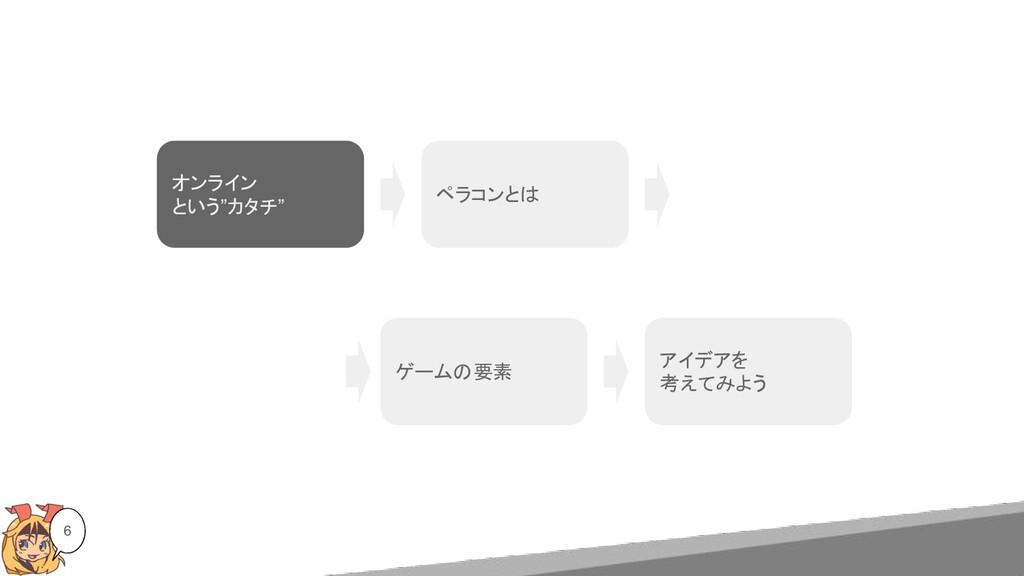 """6 オンライン という""""カタチ"""" ペラコンとは ゲームの要素 アイデアを 考えてみよう"""