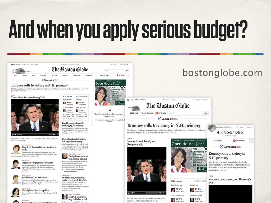 And when you apply serious budget? bostonglobe....