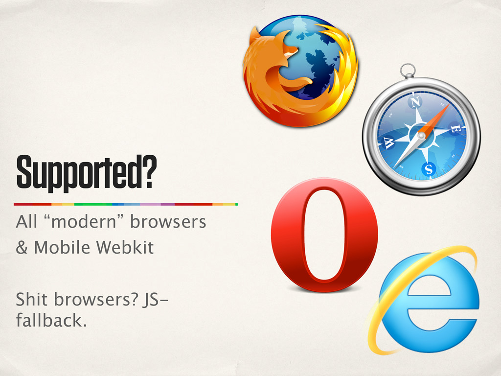 "Supported? All ""modern"" browsers & Mobile Webki..."