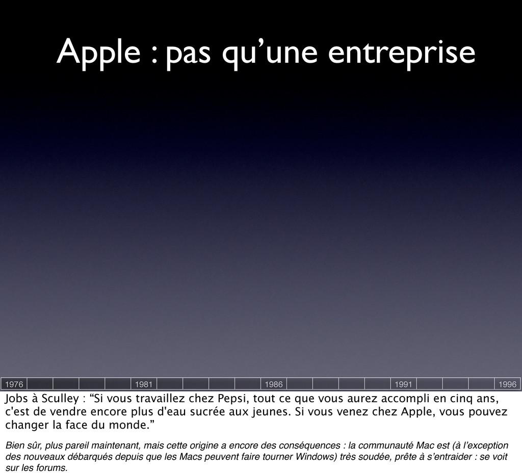 Apple : pas qu'une entreprise 1976 1981 1986 19...