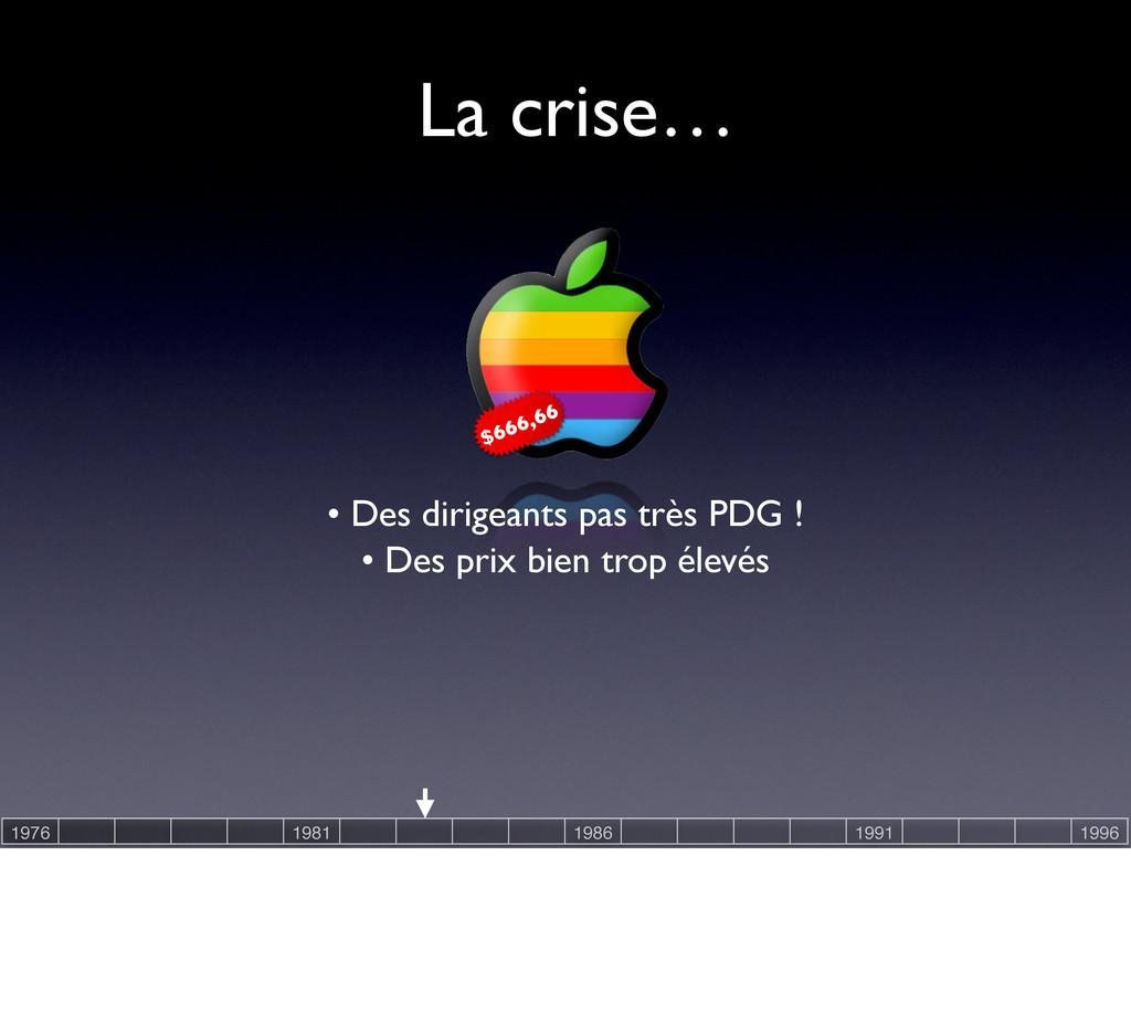La crise… • Des prix bien trop élevés • Des dir...