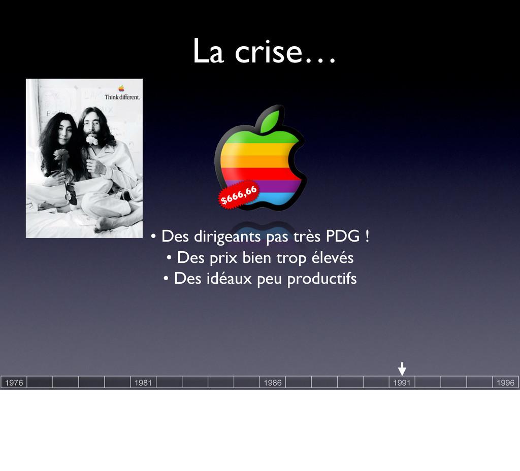 La crise… • Des prix bien trop élevés • Des idé...